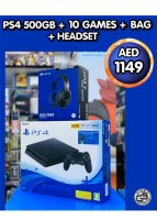 PS4 500 GB +10 GAMES + BAG + HEADSET